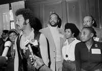 The Rev. Jesse Jackson (left) speaks to reporters at the Operation PUSH Soul Picnic at the 142nd Street Armory in New York on March 26, 1972. From left: Betty Shabazz, widow of Malcolm X; Jackson; Tom Todd, vice president of PUSH; Aretha Franklin; Miriam Makeba and Louis Stokes. PUSH stands for People United to Save Humanity.(Jim Wells/The Associated Press)