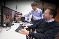 Dan Krawczyk, scientist and deputy director of the UT-Dallas Center for BrainHealth (right), and Kihwan Han, a research scientist, track changes in injured brains after cognitive training.(UT-Dallas Center for BrainHealth)