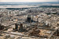 Exxon Mobile's refinery in Baytown, Texas, is pictured following Hurricane Harvey, Wednesday, August 30, 2017. (Tom Fox/The Dallas Morning News)(Tom Fox/Staff Photographer)