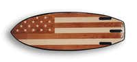 Jarvis' wakesurf board features an American flag made from 28 pieces of wood.(Jarvis Boards)
