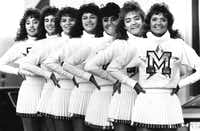 From left: Newman Smith High School drill team members Beth Simmons, Sally Suiter, Jackie Hill, Stacy Kalivoda, Lisa Losasso, Tracy Brumfield and Heather McGinnis modeled the uniforms they'd be wearing in the 1986 Macy's Thanksgiving Day Parade.(1986 File Photo/Staff)