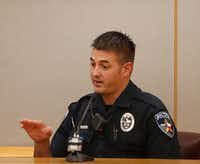 "<p><span style=""font-size: 1em; background-color: transparent;"">Balch Springs police Officer Tyler Gross testified on Day 1 of the trial, saying he was not fearful when his partner opened fire on the car full of teens</span></p>(Rose Baca/Staff Photographer)"