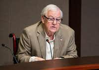 Plano City Council member Tom Harrison defends his post on social media during a hearing on Monday, April 23, 2018 at Plano City Hall. (Ashley Landis/Staff Photographer)