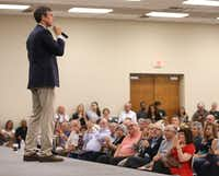 Beto O'Rourke, Democratic nominee for U.S. Senate, speaks at a rally at the Richardson Civic Center in Richardson on Aug. 14, 2018. (Rose Baca/Staff Photographer)