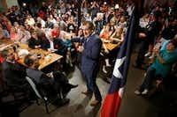 Sen. Ted Cruz addresses supporters during a campaign event at Babes Chicken Dinner House on Tuesday, Aug. 14, 2018, in Arlington, Texas. (Smiley N. Pool/Staff Photographer)