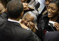 Fans get a chance to get close to Sen. Barack Obama after a speech at a rally at Reunion Arena in Dallas on February 20, 2008. (File Photo/Vernon Bryant)
