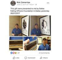 In a June 2017 Facebook post, Patrick Zamarripa's father, Enrique 'Rick' Zamarripa, showed a silver bracelet that he received from the Dallas Fallen Officer Foundation. (Facebook screenshot/Facebook)