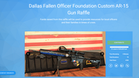 A screenshot of the website for a custom-made AR-15 gun raffle that Mark Fredde organized to benefit the Dallas Fallen Officer Foundation. (Screenshot)
