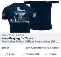 A screenshot of a Facebook post about a T-shirt fundraiser organized by the Dallas Fallen Officer Foundation to benefit the family of fallen Officer Rogelio Santander.(Facebook screenshot)
