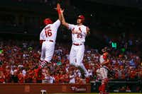 "John Gant (right) of the St. Louis Cardinals celebrates after hitting a two-run home run against the Washington Nationals in the second inning at Busch Stadium on Tuesday, Aug. 14, in St. Louis, Mo.&nbsp;(Dilip Vishwanat/<p><span style=""font-size: 1em; background-color: transparent;"">Getty Images</span></p>)"