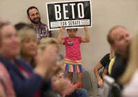 "Alora Huebner, 5, holds up a sign during a rally for Beto O'Rourke, democratic nominee for U.S. Senate, at the Richardson Civic Center on Tuesday, Aug. 14.(Rose Baca/<p><span style=""font-size: 1em; background-color: transparent;"">Staff Photographer</span></p>)"