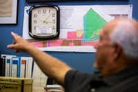 <p>A clock behind the desk of Port Aransas Mayor Charles Bujan marks the moment Hurricane Harvey made landfall on the Texas Gulf Coast. </p>(Smiley N. Pool/Staff Photographer)