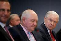 Attorney General Jeff Sessions, far right, during a meeting at the Federal Emergency Management Agency headquarters in Washington, June 6, 2018. Sessions, whose tenure as the nation's top law enforcement official has been broadly defined by his pursuit of immigration restrictions, remains deeply opposed to the policy known as Deferred Action for Childhood Arrivals. (Tom Brenner /The New York Times)