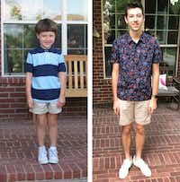 Cooper's first day of kindergarten, and his first day of senior year, which was Thursday.(Tyra Damm)