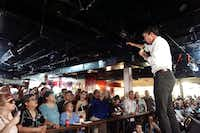 U.S. Rep. Beto O'Rourke, a Democratic candidate for U.S. Senate in Texas, spoke to a large crowd of supporters Saturday at Tex-Mex Night Club in Brownsville. (The Associated Press/Miguel Roberts)