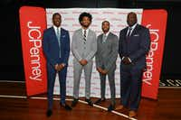 "<p>From left: NBA Draft prospects <span style=""font-size: 1em; background-color: transparent;"">Jaren Jackson Jr., Marvin Bagley III, and Mikal Bridges joined </span><span style=""font-size: 1em; background-color: transparent;"">Shaquille O'Neal, JCPenney's Big & Tall Ambassador,  to host a day of mentoring for young men on June 15 at The Y at Barclays Center. The retail chain is now launching the </span><span style=""font-size: 1em; background-color: transparent;"">Shaquille O'Neal XLG brand of big and tall men's clothing.</span></p>(Mark Von Holden/J.C. Penney via AP)"