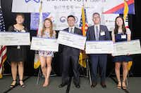 Five students received scholarships at the 13th annual Korean American Coalition banquet Saturday at the Omni Park West Hotel in Dallas.(Jarvis Jacobs/Special Contributor)