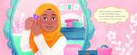 An image from  <i>Under My Hijab</i>, by  Hena Khan, illustrated by Aaliya Jaleel.(Aaliya Jaleel/Lee & Low Books)