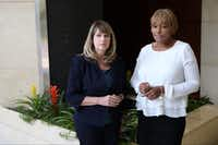 Lynette Smith-Clay (right) and her attorney, Jennifer Spencer, said Dallas County's human resources department mishandled her sexual harassment complaint.(Ryan Michalesko/Staff Photographer)