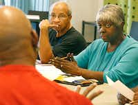 Theo and Debra Washington attend a script reading session for Public Works Dallas.(Louis DeLuca/Staff Photographer)