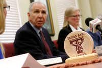 <p>Texas A&M President Michael K. Young talks about the outcome of the two sexual assault reviews launched earlier this summer.</p>(Nathan Hunsinger/Staff Photographer)
