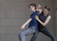 <p>Big Rig Dance Collective's Crysta Caulkins-Clouse and Lily Sloan perform their duet <i>You Are Not My Enemy</i> at Tarrant County College. The dancer-choreographers, among the founders of the Denton company, will reprise the largely improvised piece at this year's Dallas Dances festival. (Tarrant County College) </p>