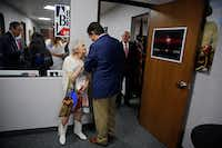 "<p><span style=""font-size: 1em; background-color: transparent;"">Pat Williford (left) smiles as she talks to Sen. Ted Cruz at Tarrant County Republican Party headquarters Wednesday, October 5, 2016 in Fort Worth. A conservative group sent a letter on Sunday to the TCRP president, asking him to remove its vice chair -- Dr. Shahid Shafi -- because he's Muslim.</span></p>(G.J. McCarthy/File 2016)"