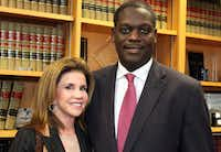 Lisa Blue and Craig Watkins in his office when he was district attorney(Dallas County District Attorney')