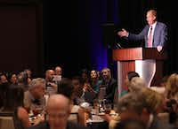 Frisco Mayor Jeff Cheney addresses the crowd of 150 at the Mayor's Business Roundtable. (Jason Janik/Special Contributor)