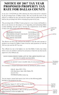 The Watchdog shows how to read a property tax rate notice using, as an example, this 2017 notice from Dallas County.(Graphic by Marina Trahan Martinez)