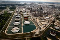 <div>One effect of Hurricane Harvey was the shut down of many major oil refineries along the Gulf Coast, including ExxonMobil's facility in Baytown.</div>(Tom Fox/Staff Photographer)