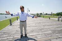 Resident Engineer Steve Sherrill of the U.S. Army Corps of Engineers, talks about the project to raise some of the levees and seawalls in the area near Port Arthur, Texas.(David J. Phillip/AP)