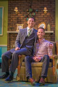 Actor Kevin Moore and his husband Joel Robbins pose before a rehearsal of <i>Perfect Arrangement</i>. In the show, Moore plays a gay man in the 1950s who is married to a woman as a cover because he cannot legally marry the man he loves.(Carly Geraci/Staff Photographer)