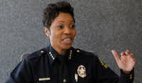 Dallas Police Chief U. Renee Hall talks to The Dallas Morning News editorial board on Friday.(Irwin Thompson/Staff Photographer)