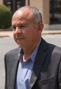 Arnoldo Antonio Vasquez enters the Paul Brown U.S. Courthouse where he was on civil trial for misrepresentation on his citizenship application on Aug. 22, 2018, in Sherman, Texas. Vasquez, who served as a second lieutenant in the Salvadoran Army, has been linked to a 1988 massacre in the Central American country. (Ryan Michalesko/Staff Photographer)