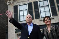 GOP presidential candidate John McCain and his running mate Sarah Palin attend a campaign event in Cedarburg, Wis., in 2008.(Robyn Beck/AFP/Getty Images)