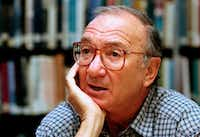 In this Sept. 22, 1994, file photo, American playwright Neil Simon answers questions during an interview in Seattle.(Gary Stuart/The Associated Press)