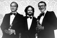 In this Jan. 29, 1978, file photo Neil Simon, Michael Douglas and Herbert Ross pose after Simon and Ross each won awards during the Golden Globe ceremony in Los Angeles.(The Associated Press)