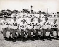 North Dallas Bulldogs, 1952: Front row (L to R) : End David Kingcaid, tackle James Coker, guard Jack Chewning, center Mayo Neal, guard Carl McGee, tackle Earl Farley, end Macky Joe Sellers. Back row (L to R): Back Paul Delfeld, back Robert Burgess, back David Abbott, back Ernie Manicchia.(Courtesy Photo)