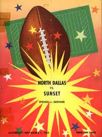 North Dallas vs. Sunset program cover. The program cost 10 cents.