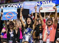 <p>Bernie Sanders supporters cheer during Day 2 of the Democratic National Convention on July 26, 2016, in Philadelphia.</p>(File Photo/<p>Ashley Landis</p>)
