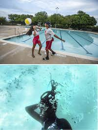Over/under: (top) Lifeguards Liz Vasquez and Moises Zambrano play with a beach ball on a slow day at the pool. (below) On a busier day, Rawterrian Rodgers, 11, of Dallas pretends to be asleep after sinking to the bottom of the pool floor while playing with her friend at the Bonnie View swimming pool in Dallas.(Carly Geraci/Staff Photographer)