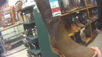 An undercover investigator found giraffe-hide boots for sale at Foster's Western Wear in Denton in January.(Humane Society of the United States)