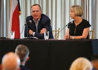 Todd Williams, executive director of education nonprofit The Commit Partnership, spoke as Missy Bender, Plano ISD school board president, looked on during a panel discussion Thursday on school finance at the Plano First Executive Breakfast Series at Gleneagles Country Club in Plano. (Vernon Bryant/Staff Photographer)