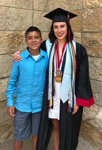 Hannah Ortega poses with her younger brother. (via Hannah Ortega)