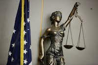 Lady Justice stands sentinel at the Frank Crowley Courts Building where Roy Oliver was convicted and sentenced this week.(Andy Jacobsohn/Staff Photographer)
