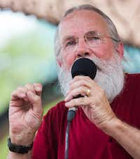 """John Fullinwider speaks at a rally in Pike Park following the March to End Police Brutality in June 2017 in Dallas.(2017 File Photo/<p><span style=""""font-size: 1em; background-color: transparent;"""">Ryan Michalesko</span><br></p><p></p>)"""