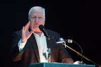 Master of Ceremonies, Dale Hansen, speaks at the Dallas ISD Hall of Fame induction ceremony at American Airlines Center in Dallas on May 4, 2018. (Allison Slomowitz/ Special Contributor)(Allison Slomowitz/Special Contributor)