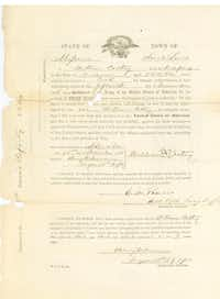 "The original enlistment papers for Cathy Williams, a.k.a. ""William Cathey,"" displayed in an educational article about Buffalo Soldiers by the National Park Service. (National Park Service)"