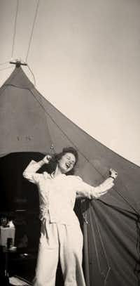 Sarah Bird's mother, then  Lt. Colista Marie McCabe, R.N., outside her tent in Tunisia in advance of the Invasion of Sicily in World War II.(Sarah Bird)